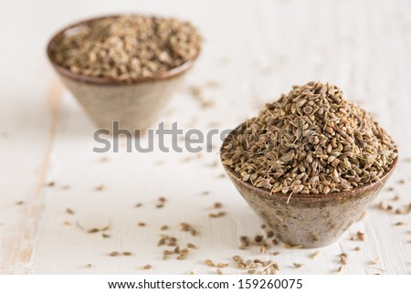 Closeup of anis seeds which ads a distinct flavor to dishes - stock photo