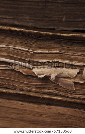 Closeup of antique book paper. - stock photo