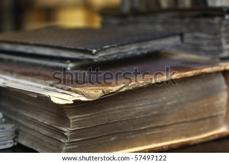 Closeup of antique books. - stock photo