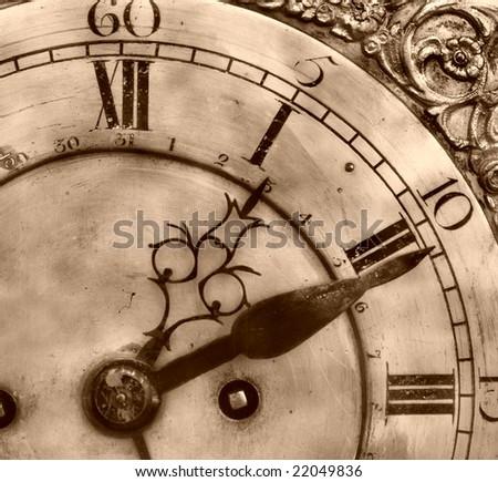 Closeup of antique clock of the eighteen century - stock photo