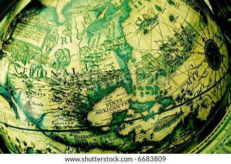 Closeup of antique globe with map focused on North America contintent - stock photo