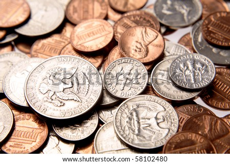 Closeup of assorted American coins - stock photo