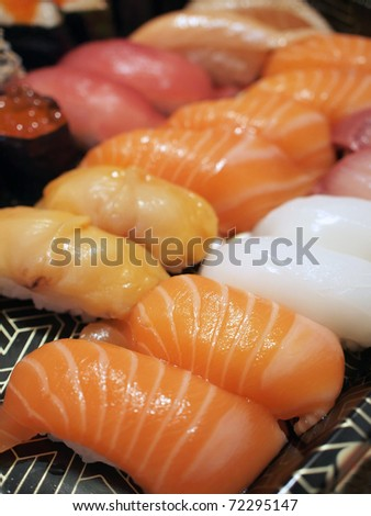 Closeup of assorted sushi in Japanese restaurant