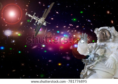 Closeup of astronaut. The elements of this image furnished by NASA.