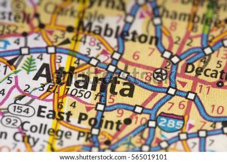 Atlanta Map Stock Images RoyaltyFree Images Vectors Shutterstock - Road map georgia