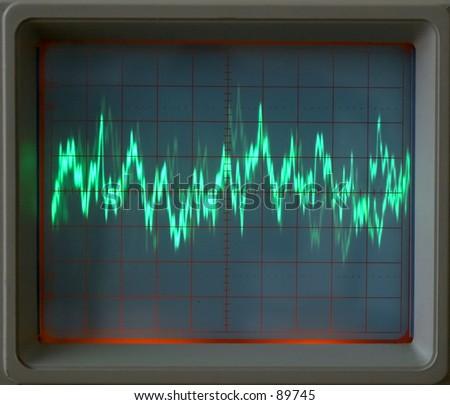 Closeup of audio waveform displayed on oscilloscope - stock photo