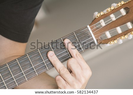 Closeup B Major Chord Played On Stock Photo & Image (Royalty-Free ...