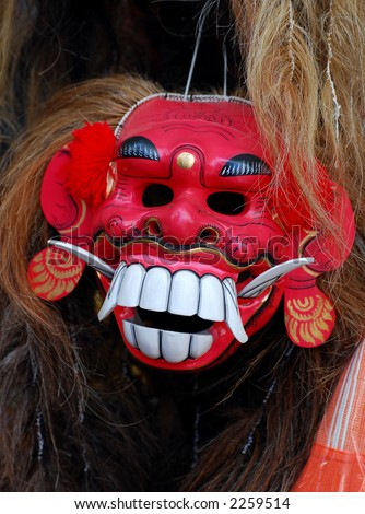 Closeup of Balinese mask (topeng) used for their performing art and ritual - stock photo