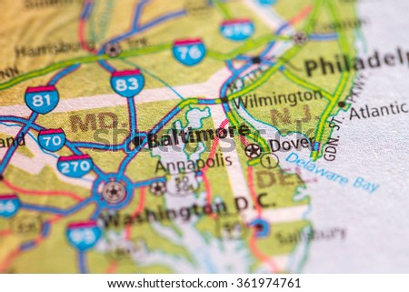 Closeup of Baltimore on a geographical map. - stock photo