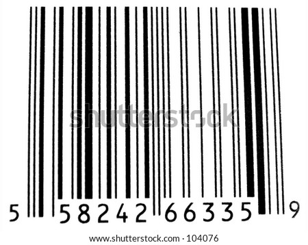 Closeup of Bar Code isolated on white background