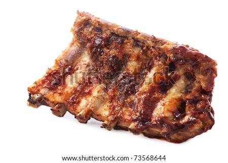 Closeup of barbecued pork ribs - stock photo