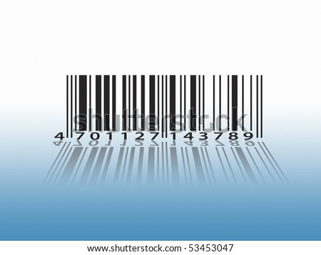 Closeup of barcode with shadow against graduated background