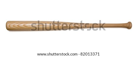 Closeup of baseball bat isolated on white background with clipping path. - stock photo