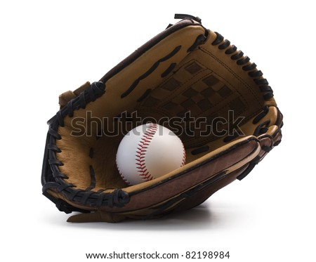 Closeup of baseball glove holding baseball on white background with clipping path.