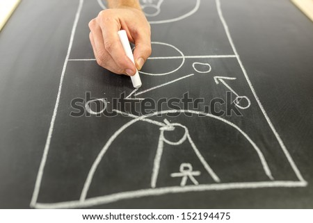 Closeup of basketball coach drawing game strategy on black board.