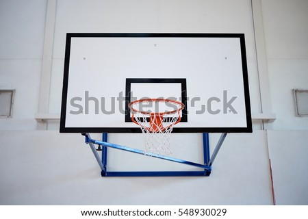 Closeup of basketball hoop