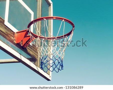 Closeup of basketball hoop with vintage look - stock photo