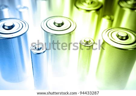 Closeup of batteries. Studio shot - stock photo
