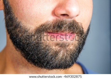 Closeup of beard and mustache man