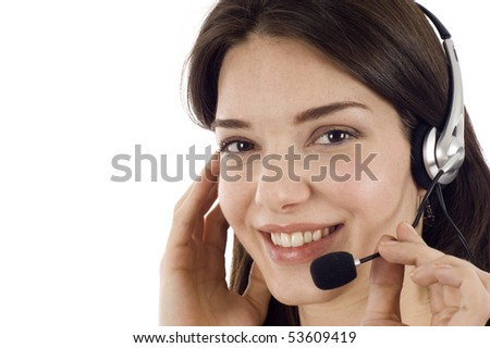 Closeup of beautiful business customer service woman -isolated over a white background, a lot copyspace. - stock photo