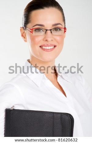 closeup of beautiful businesswoman studio portrait - stock photo