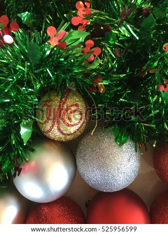 Closeup of beautiful colorful Christmas decorations