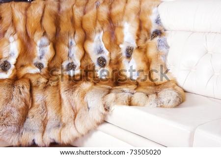 Closeup of beautiful fox fur - stock photo