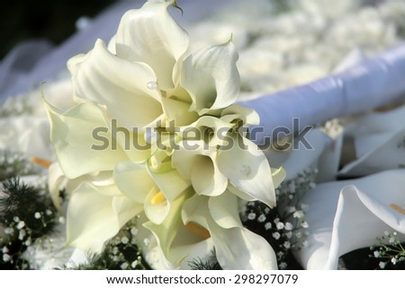 Closeup of beautiful fresh aroma soft white callas with pearl beads wedding bouquet lying on decorations outdoor suuny day, horizontal picture - stock photo
