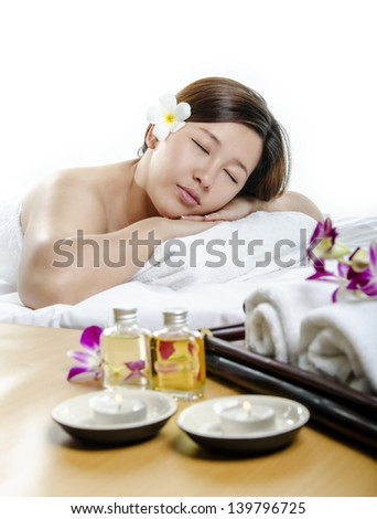 Closeup of beautiful lady in concept of spa and massage - stock photo