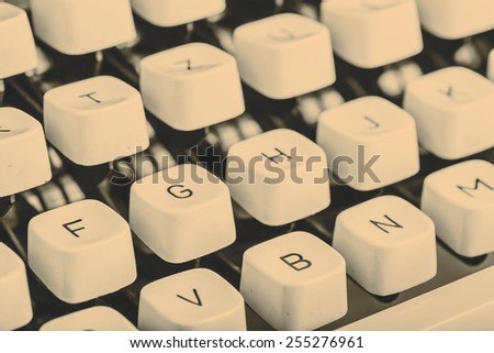 closeup of beautiful old typewriter letters, retro detail  - stock photo