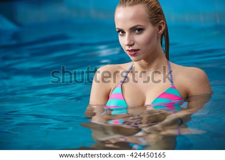 Closeup of beautiful woman in spa center