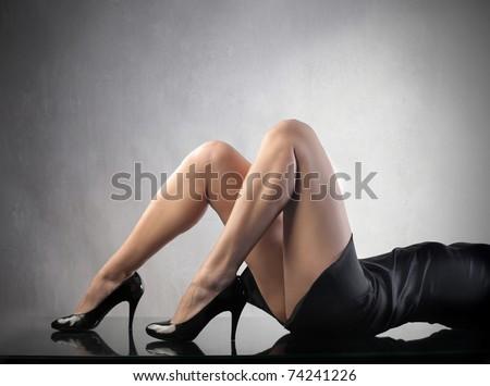 Closeup of beautiful woman's legs - stock photo