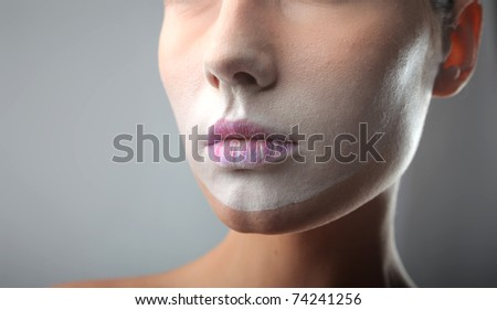 Closeup of beautiful woman's lips - stock photo