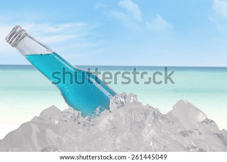 Closeup of beer bottle on ice cube at beach - stock photo