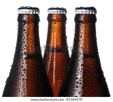 Closeup of beer bottles - stock photo