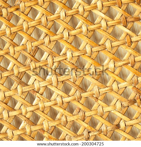 Closeup of beige basket. Wicker woven pattern for abstract background or texture. Square format. - stock photo