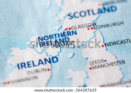 Closeup of Belfast, Northern Ireland on a political map of Europe. - stock photo