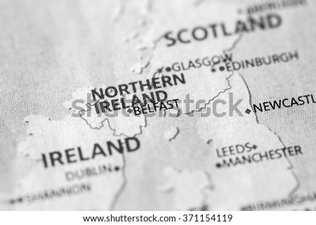 Closeup of Belfast, UK on a political map of Europe. (black and white) - stock photo