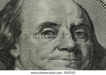 Closeup of Benjamin Franklin on One Hundred Dollar Bill - stock photo