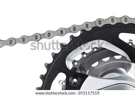 closeup of bicycle crank set with chain isolated on white background - stock photo