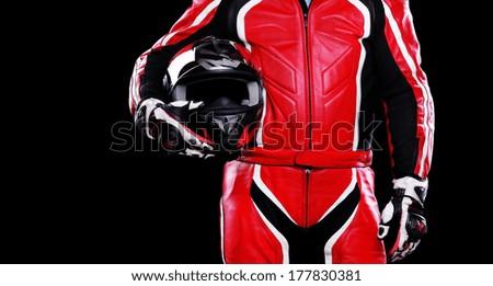 closeup of biker helmet on black background - stock photo