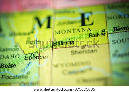 Closeup of Billings, Montana on a political map of USA.