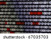 Closeup of binary code infected by computer virus. - stock photo