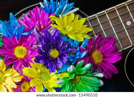 closeup of black acoustic guitar filled with multi-colored daisies (colorful notes) - stock photo