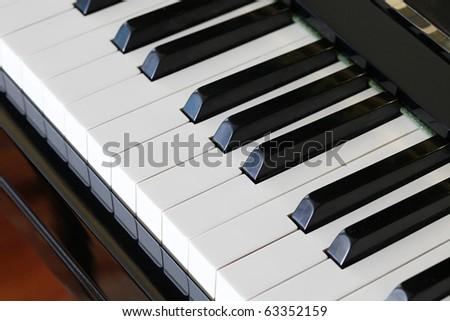 Closeup of Black and White Keys of Piano - stock photo