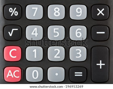 Closeup of black calculator keyboard. Front view. - stock photo