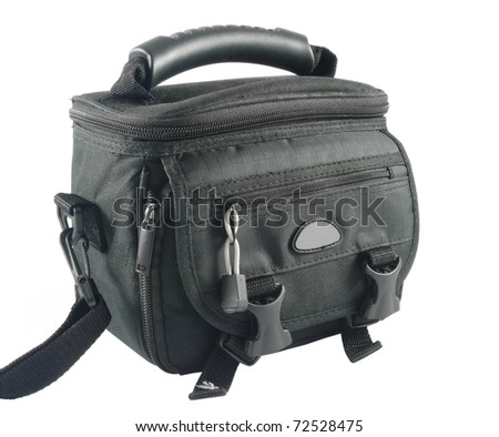 Closeup of black camera bag over white background