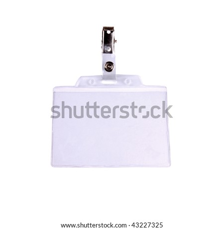 Closeup of Blank badge/ ID card on white background with clipping path - stock photo