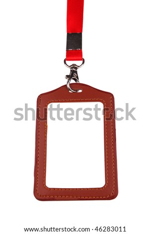 Closeup of Blank badge/ ID card with red lanyard on white background - stock photo