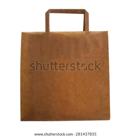 Closeup of blank folded paper bag isolated on white background  - stock photo